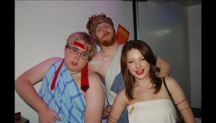 Attack of the killer whale? No, it's me in 2007. Admittdly standing with two very slim people from mu Uni halls didn't help but this is the best Facebook had to offer that truly illustrated my bulk.